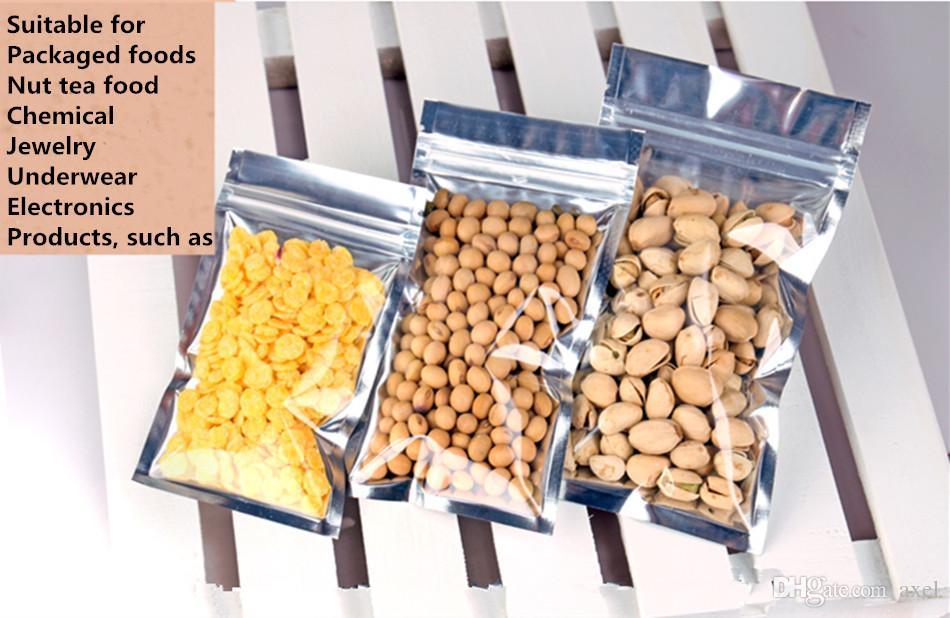 9x16cm Durchscheinend Wiederverschließbar Geruchssicher Verpackung Mylar Beutel Aluminiumfolie Reißverschluss Lebensmittel Snacks Geschenkvitrine Heißsiegel Laminierpaket