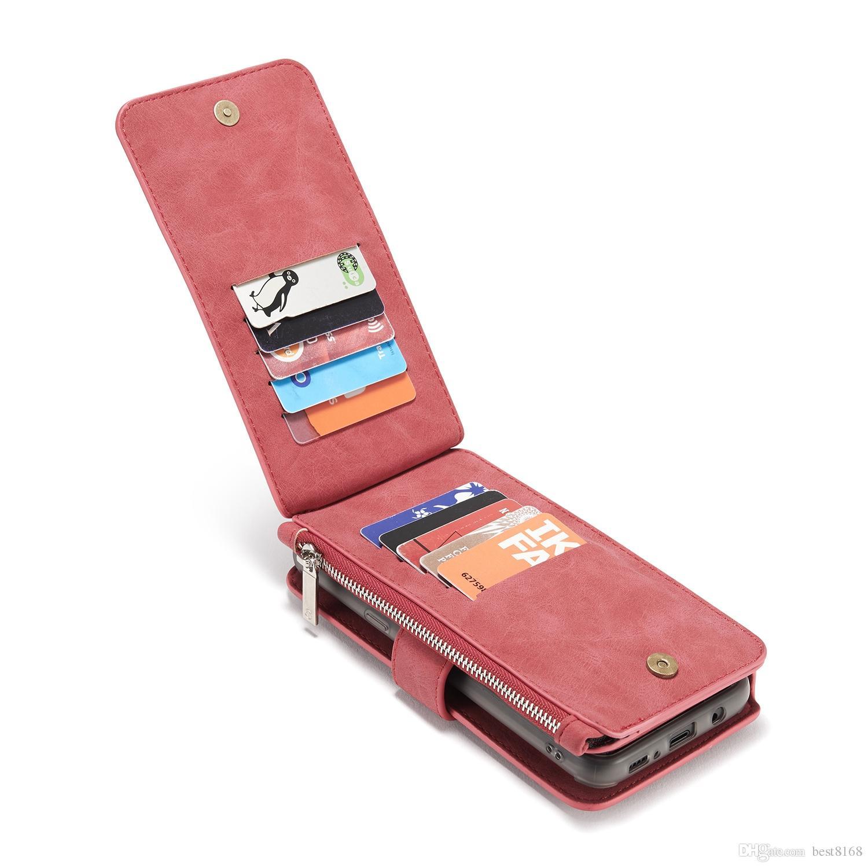 Casos multifunción para Iphone 11 Pro XS MAX XR X 8 7 6 6S Galaxy Note 10 9 CaseMe Monedero de cuero magnético de la cubierta del tirón desmontable desmontable