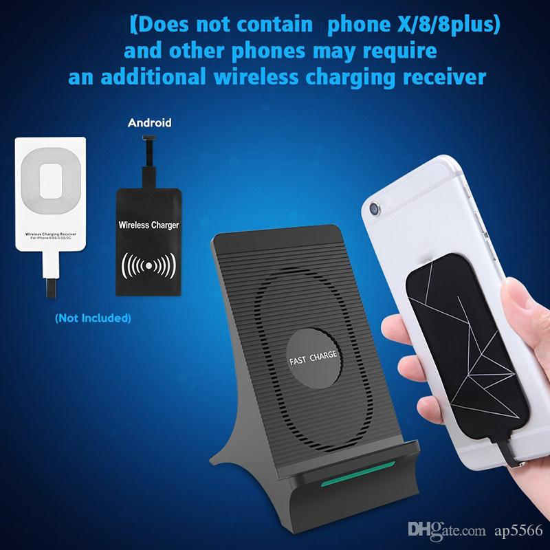 Wireless Charger Fast Qi Wireless Charging Stand Pad for Apple iPhone X 8 8Plus Samsung Note 8 S8 S7 all Qi-enabled Smartphones by ap5566