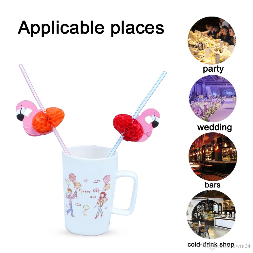 Flamingos Paper Straws Beverage Decoration Prop Table Decor For Birthday Wedding Decorative Party Cardboard Tissue Flexi-Straw
