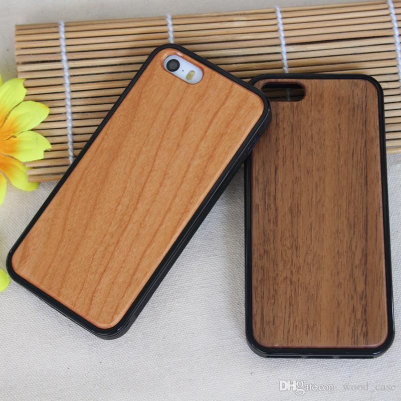 Wood + TPU Phone Cases For Iphone 5 5s SE 6 6s plus 7 8 X 10 Natural Wooden Bamboo Mobile Phone Cover Wood Case For Samsung S9 S8 S7 Note 8