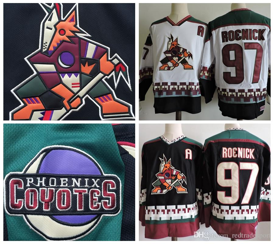 2019 Phoenix Coyotes Vintage Jeremy Roenick Old Hockey Jersey Vintage 97  Jeremy Roenick Black White CCM Stitched Arizona Coyote Jerseys A Patch From  ... 34630b95e