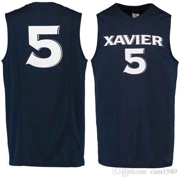 differently a6f52 e1068 NO.5 Xavier Musketeers Men College Basketball Jersey embroidery Athletic  Outdoor Apparel Mens Sport Jerseys Size S-3XL