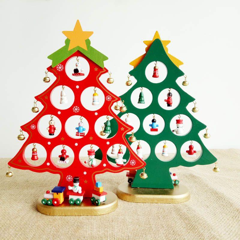 Regali Di Natale Artigianali.Cartone Animato Fai Da Te In Legno Albero Di Natale Decorazione Regalo Di Natale Ornamento Tavolo Scrivania Decorazione Capodanno Decorazione To141