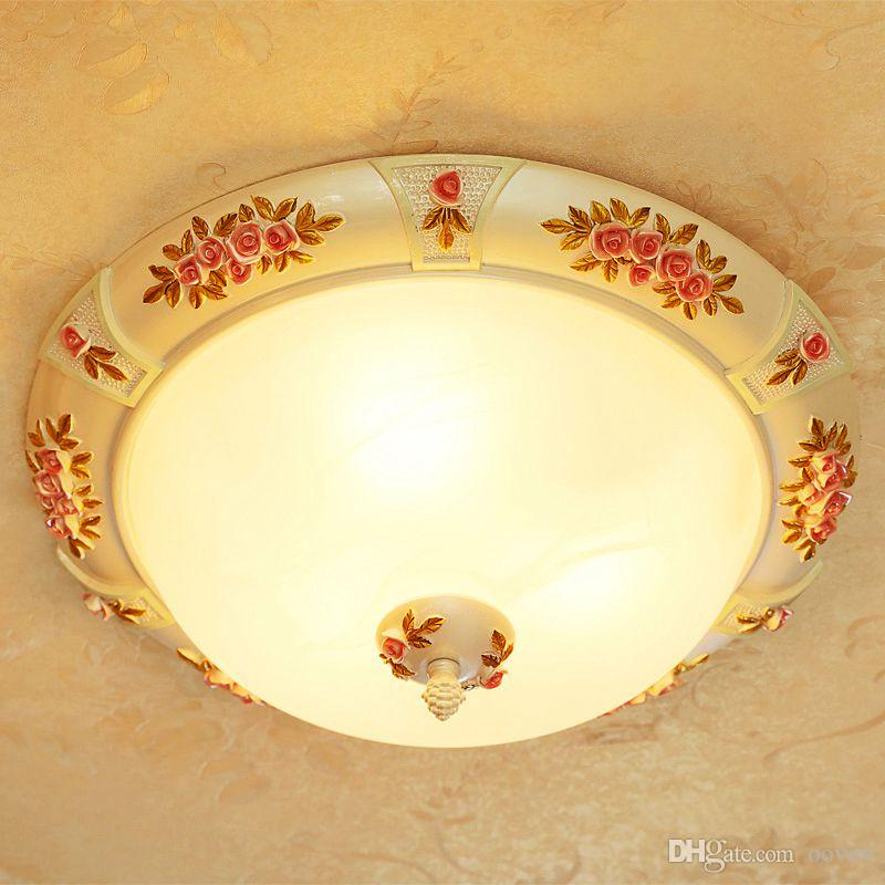 """OOVOV 16"""" Resin Glass Flowers Ceiling Lights European Painted Bedroom Girl's Room Kitchen Balcony Ceiling Lamps"""