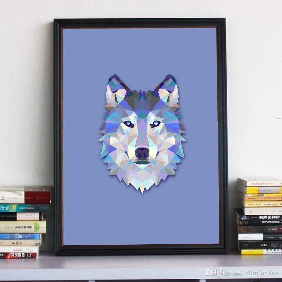 Wolf Wall Art 2017 geometric wolf canvas art print painting poster, wall