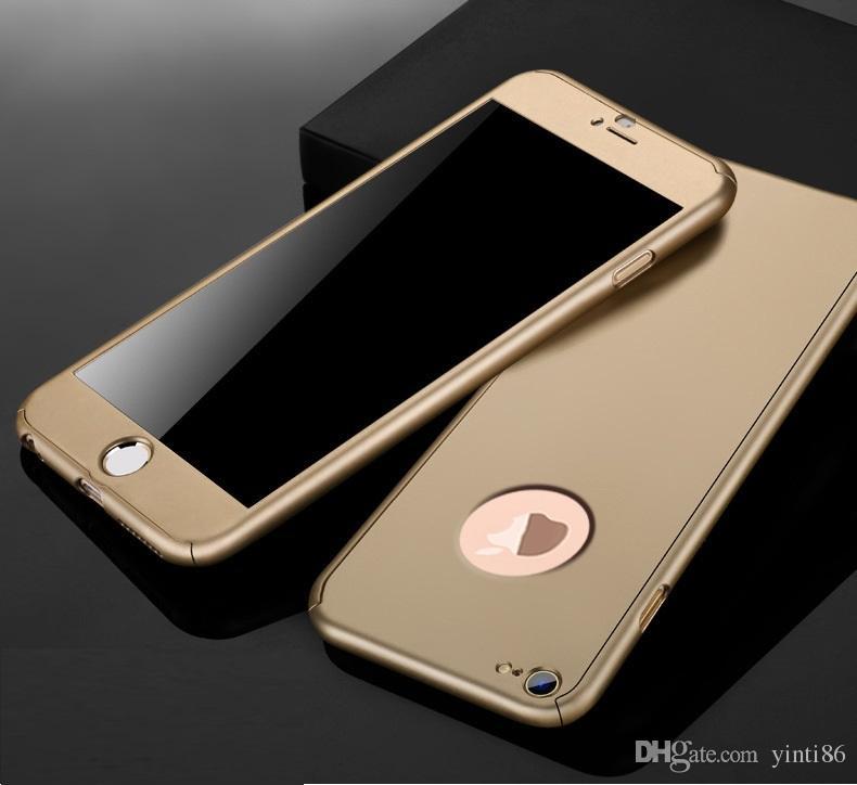 Ultra-ince Hibrid 360 Derece Tam Vücut Kapsama Koruyucu Kılıf Kapak ile temperli Cam Ekran için akıllı telefon X 7 artı 5 s 6 8