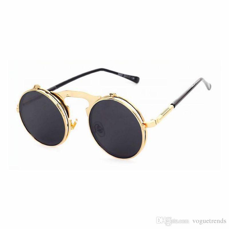 645ac3daaf Compre Marco De Metal Redondo Steampunk Gótico Vintage Flip Up Gafas De Sol  Gris 46 Mm Lente Circualr Gafas Unisex Gafas A $13.2 Del Voguetrends |  DHgate.
