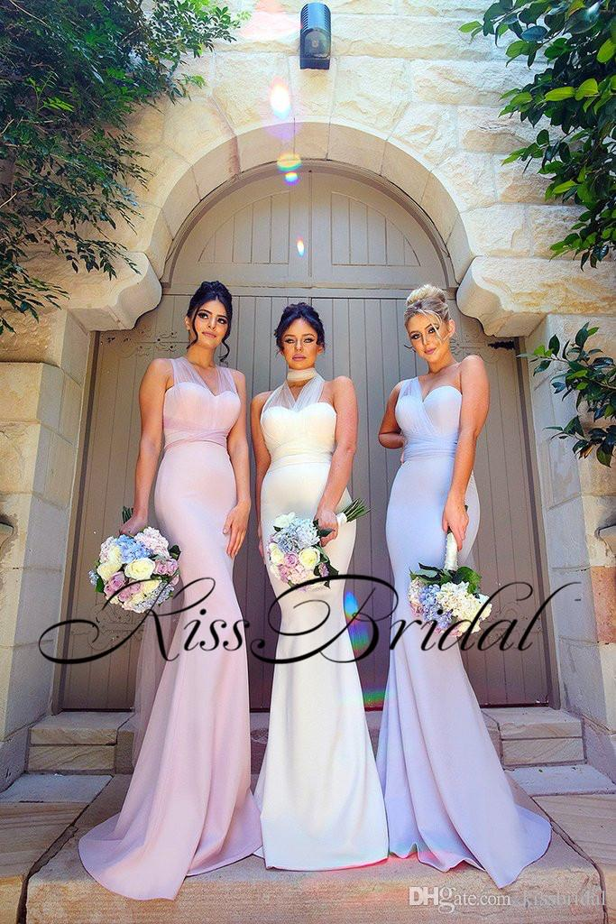 Multiple Mermaid Bridesmaid Dresses Satin Sweetheart Neck Long Prom Gowns Tulle Belt Neckline Evening Dress gown