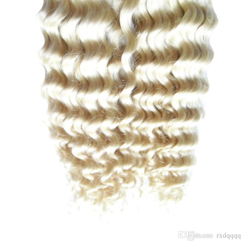 Blonde brazilian virgin hair kinky curly Skin Weft Remy Human Hair Extensions 100g seamless hair extensions