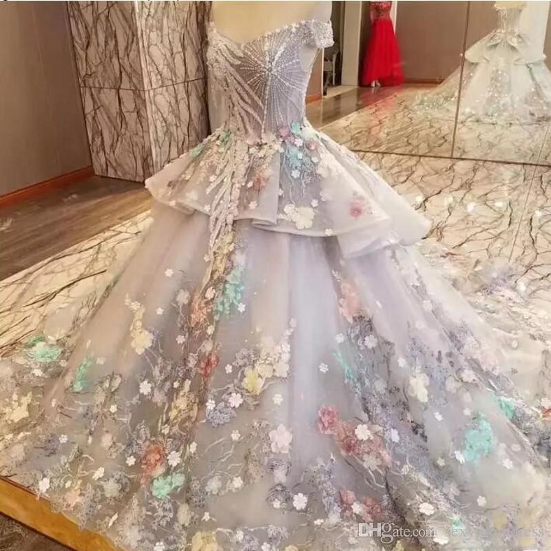 Peri Renkli Kapalı Omuz Gelinlik 2018 İlkbahar Yaz Organze Katmanlı Gelin  Törenlerinde Dantel Aplikler Dubai Düğün Vestidos