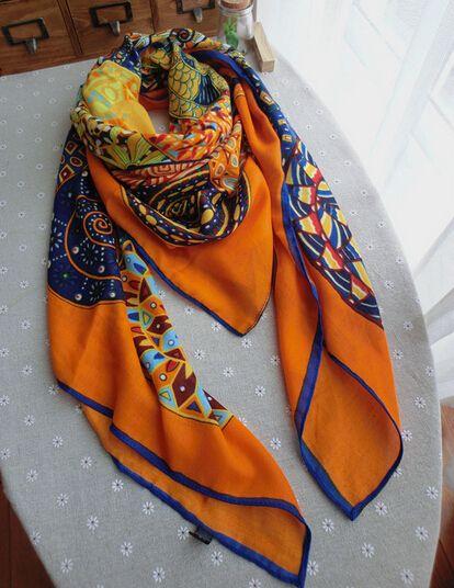 Brand New Cotton fabric twill scarf 130*130cm Big Size New Arrival Winter Square Scarf orange