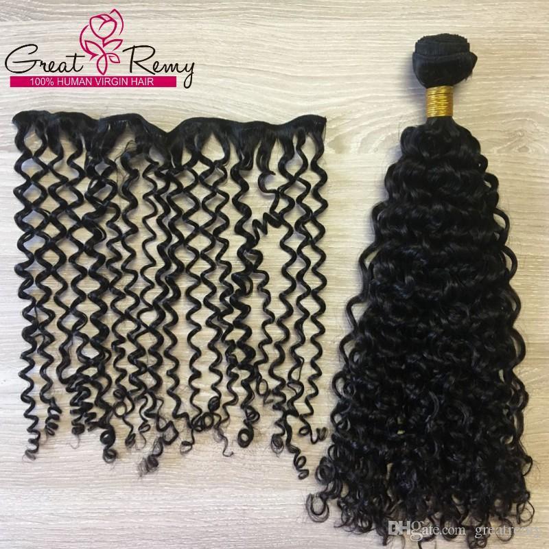 Greatremy® / 많은 깊은 곱슬 머리 씨실 직물 100 % 브라질 페루 말레이시아 인도 버진 처리되지 않은 인간의 머리 확장