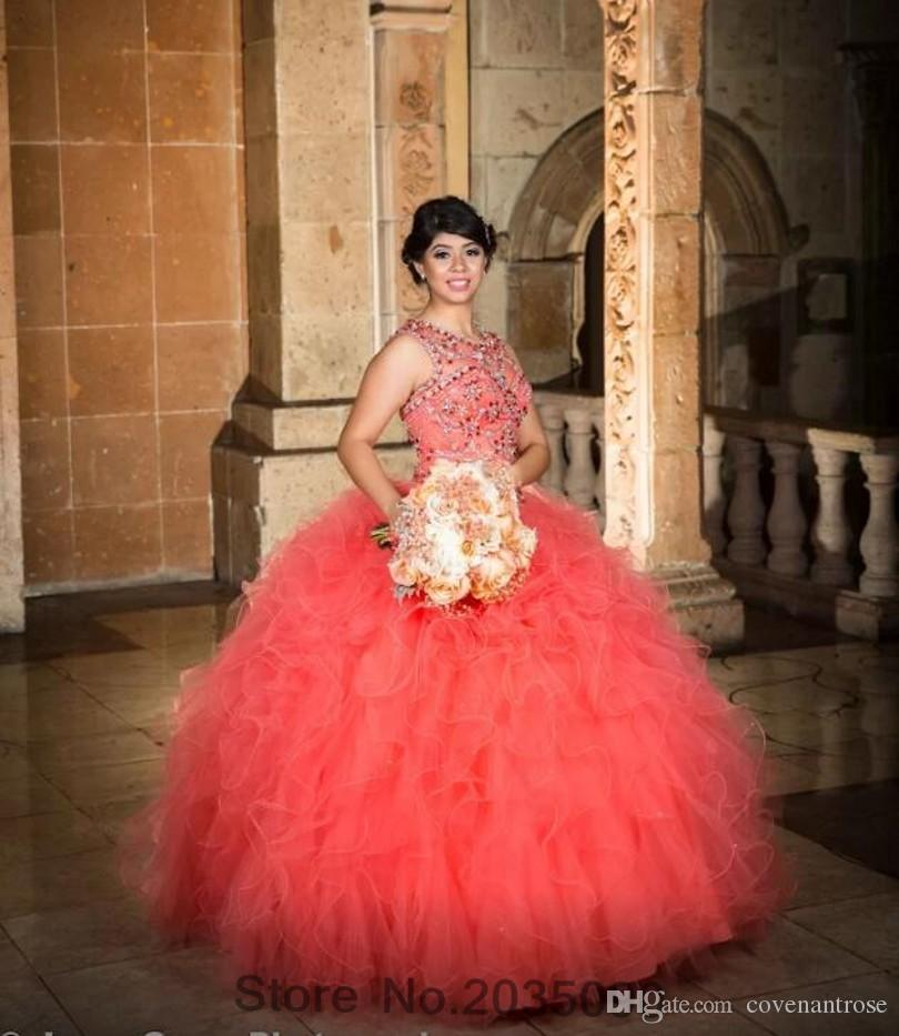 4c47152e59e Cheap Coral Quinceanera Gowns Sweet 16 Ball Prom Gowns Puffy Skirt Tulle  Crystal Beaded Coral Quinceanera Dresses For 15 Year Pretty Quinceanera  Dress ...