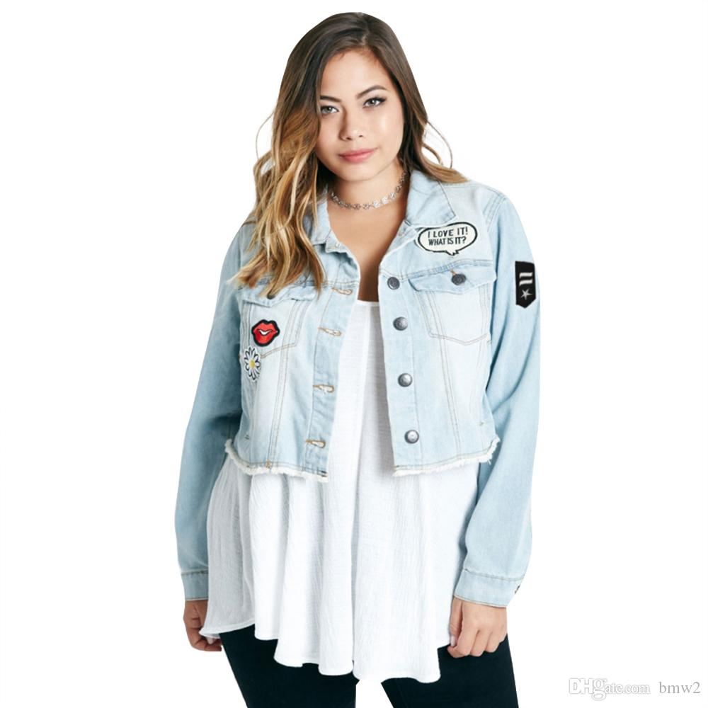 f5fe3c4062 Women Plus Size Short Denim Jacket Coats With Patches Button Down Basic Jean  Big Size Outfits 6XL Green Bomber Jacket Womens Leather Jacket Sale From  Bmw2