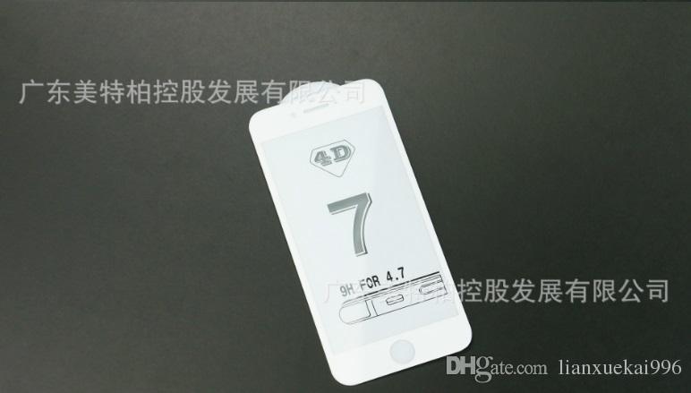 / Pellicola in vetro temperato 4D iPhone 6 7 4.7 5.5 plus Pellicola di vetro nero / bianco con confezione al dettaglio da DHL
