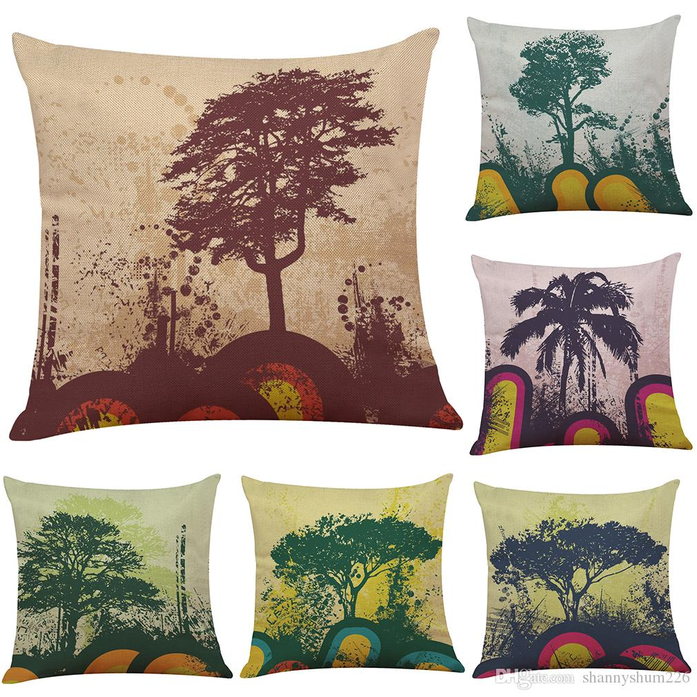Abstract Painting Tree Linen Cushion Cover Home Office Sofa Square Pillow  Case Decorative Cushion Covers Pillowcases Without Insert18*18 Patio Lounge  Chair ...