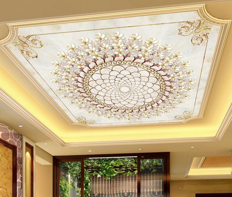 3d plafond peintures murales papier peint personnaliser fond d'écran pour murs 3 d plafond mural orchidée imitation voiture en pierre 3d fonds d'écran de plafond pour salon