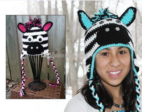 Großhandel Striped Zebra Crochet Pattern Hut Baby Boy Mädchen Winter ...