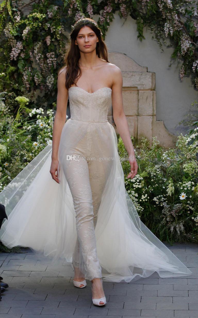 Detachable train pant suit wedding dresses 2017 monique for Dress pants for wedding