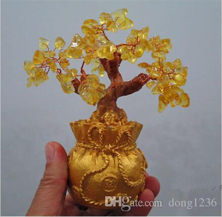 Natural yellow crystal trick treasure tree, Huang Shuijing accompanying leaves
