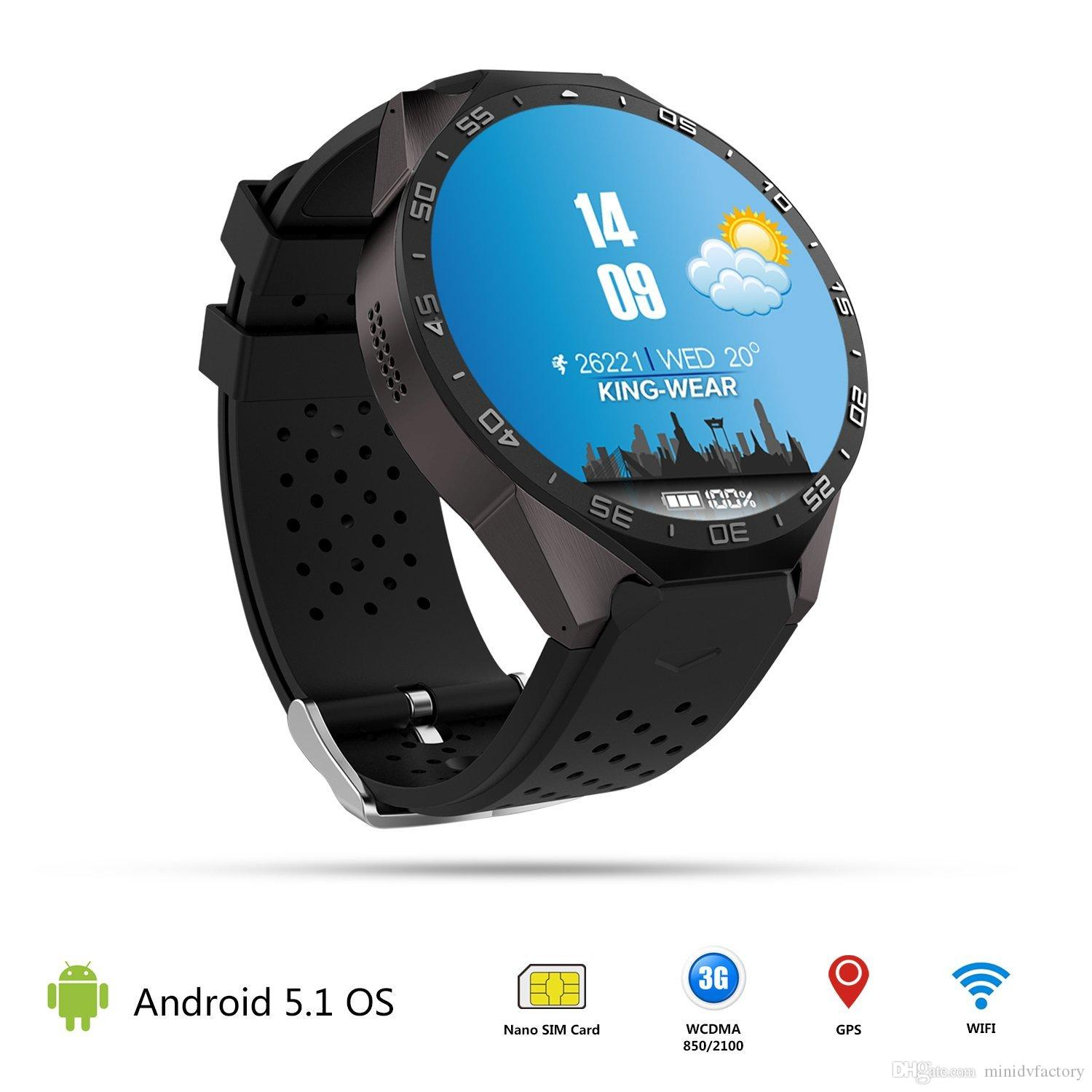 New Kingwear KW88 Android 5 1 OS MTK6580 Quad Core Smart Watch Phone 1 39  Inch 400*400 Smartwatch Support 3G WCDMA Nano SIM Wifi Heart Rate