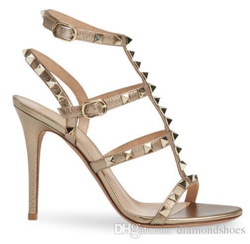 Nude Gold Schwarz Nieten Frauen Sandalen T-Strap Schnallen Gladiator High Heels Damen Schuhe Party Hochzeit Damen Pumps Studded Shoes