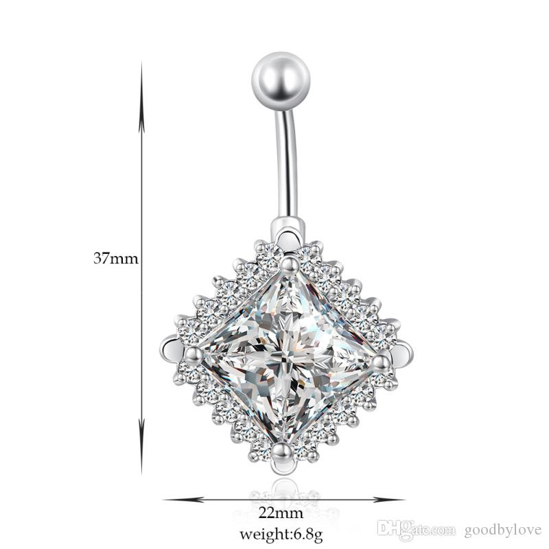 Shiny White Gold Plated Clear Crystal Around Big Rhombus Cubic Zirconia CZ Piercing Navel Belly Button Ring Hot Gift for Women