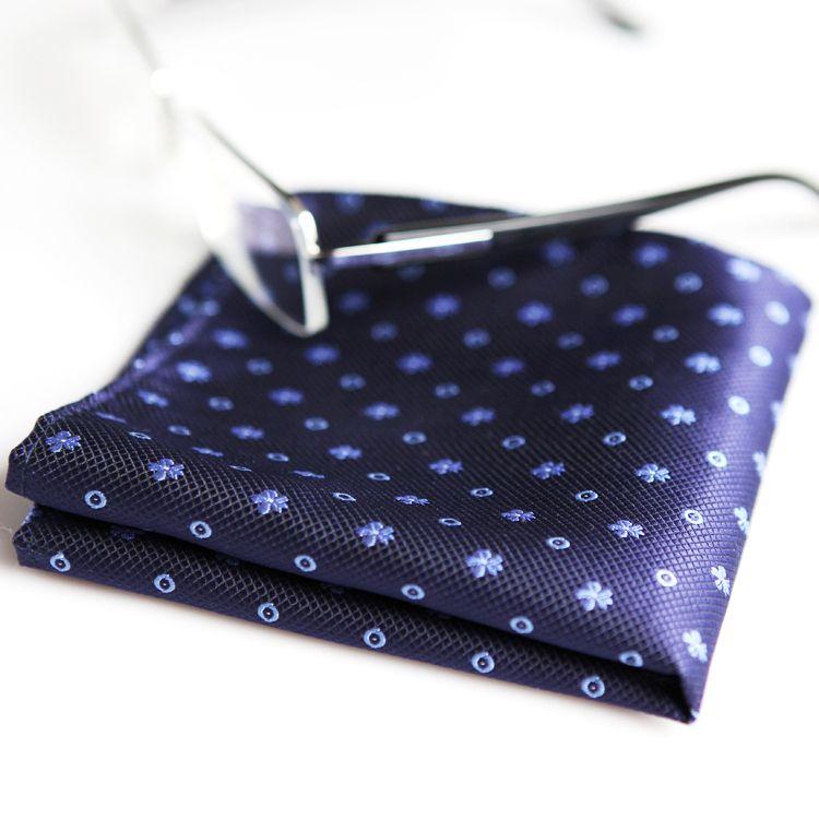 T092 منقطة الأزهار البحرية الأزرق رجل العلاقات ربطات العنق المنديل 100٪ الحرير الجاكار المنسوجة الجملة التعادل مجموعة أزياء تناسب هدية للرجال