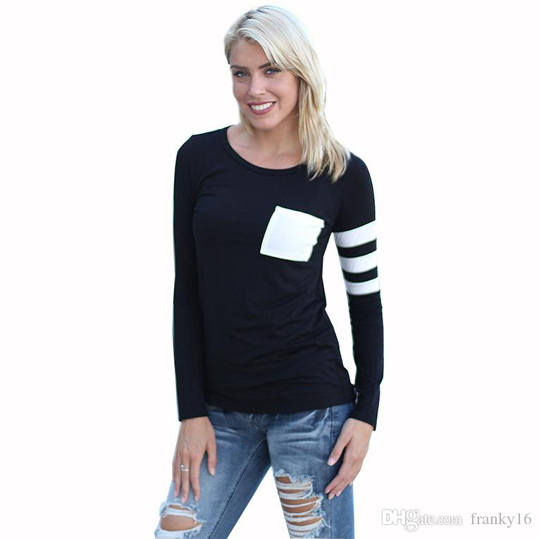 Plus Size S to 3XL Loose Long Sleeve Women T Shirt Patchwork Pocket Cotton Blend Black Gray Red O Neck Shirt