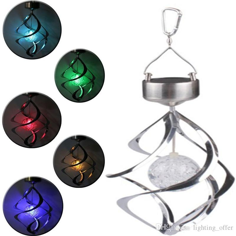 2019 Solar Power Rotating Led Hanging Light Color Changing