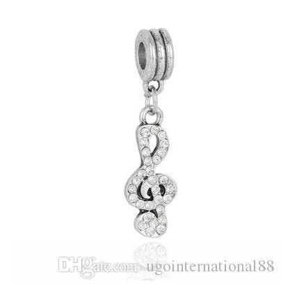 Passt Pandora Armbänder 30 stücke Musical Note Kristall Silber Charm Beads Charms Für Großhandel Diy Europäischen Halskette Schlangenkette Armband