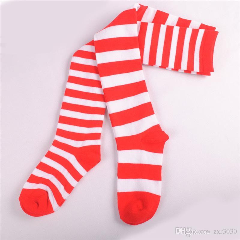 Moda Sexy Mulheres coxa alta meias de algodão cinto de alta listrado corpo quente bonito rosa de espessura sobre o joelho meias de Natal