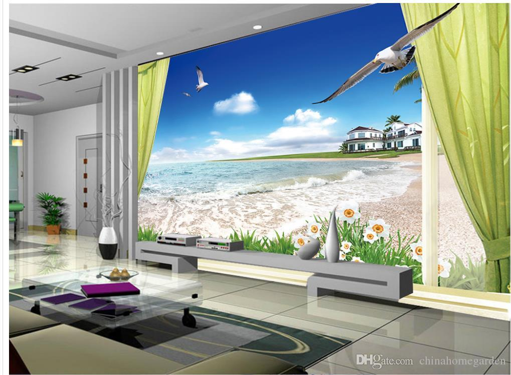 gro handel 3d wandbilder tapete f r kinderzimmer strandlandschaft tv wand benutzerdefinierte 3d. Black Bedroom Furniture Sets. Home Design Ideas