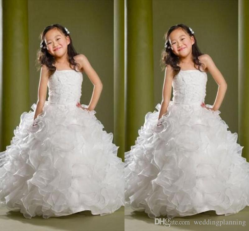 Puffy Lovely Formal Girls Vestidos de desfile Niños Lentejuelas Perlas Longitud del piso Vestidos de chicas de flores para bodas Vestidos de fiesta personalizados para niños
