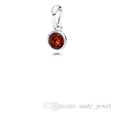 January to June 6 month 925 Sterling Silver Beads Droplet Birthstone Garnet Charms Fits European Pandora Style Jewelry Bracelets 390396
