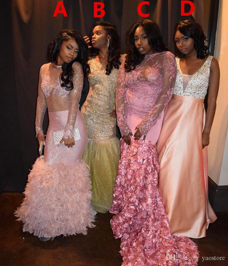 2017 African Black Girl Long Sleeves Prom Dresses Yellow Pink Rose