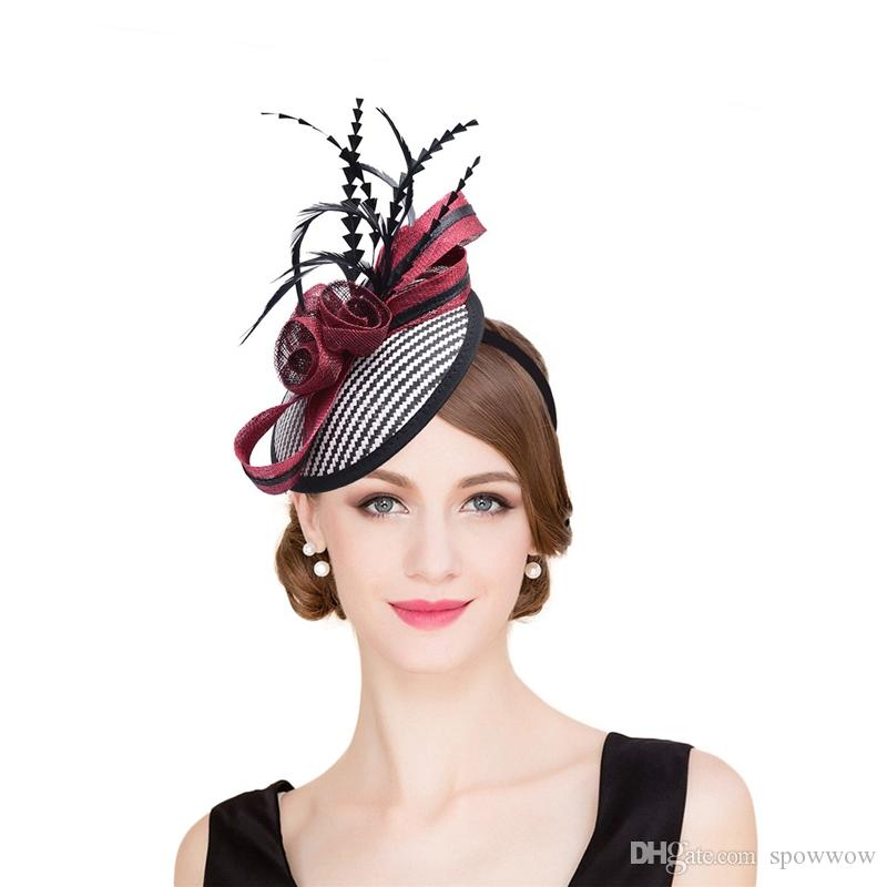 2019 Womens Sinamay Raffia Base Fascinator Feather Cocktail Party Hat  Wedding Church Dress Kentucky Derby Headbands T221 From Spowwow b4137691079