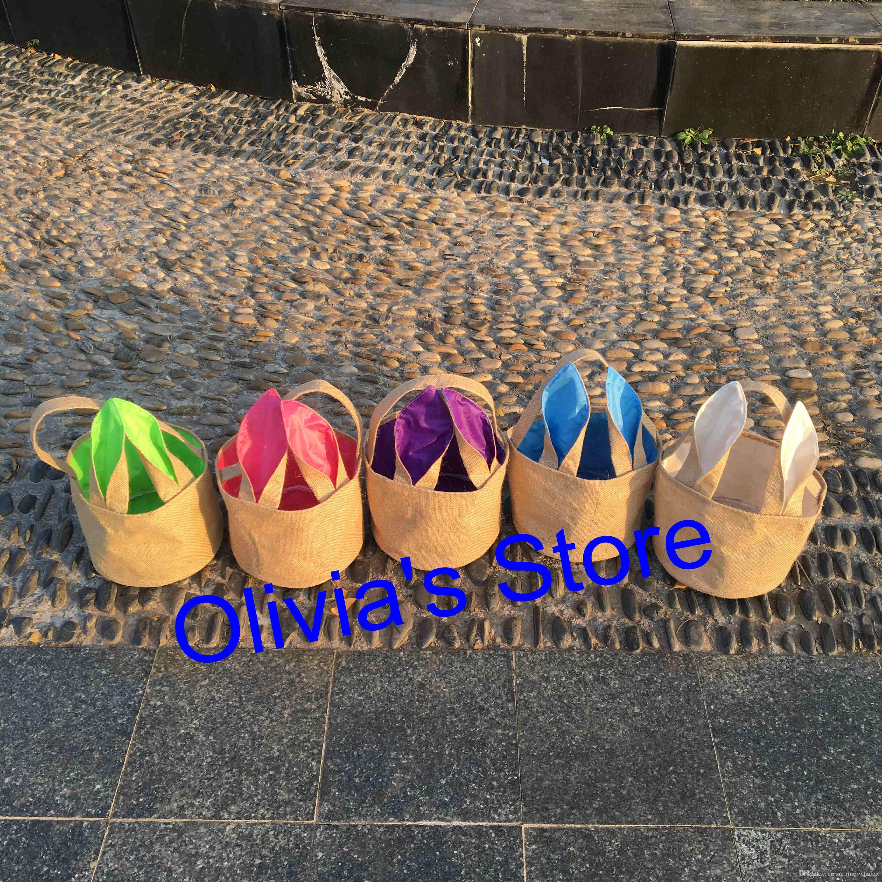 Commercio all'ingrosso 2018 easter egg basket monogrammed juta coniglietto di pasqua secchio tote borse bambini regalo caramelle pentola