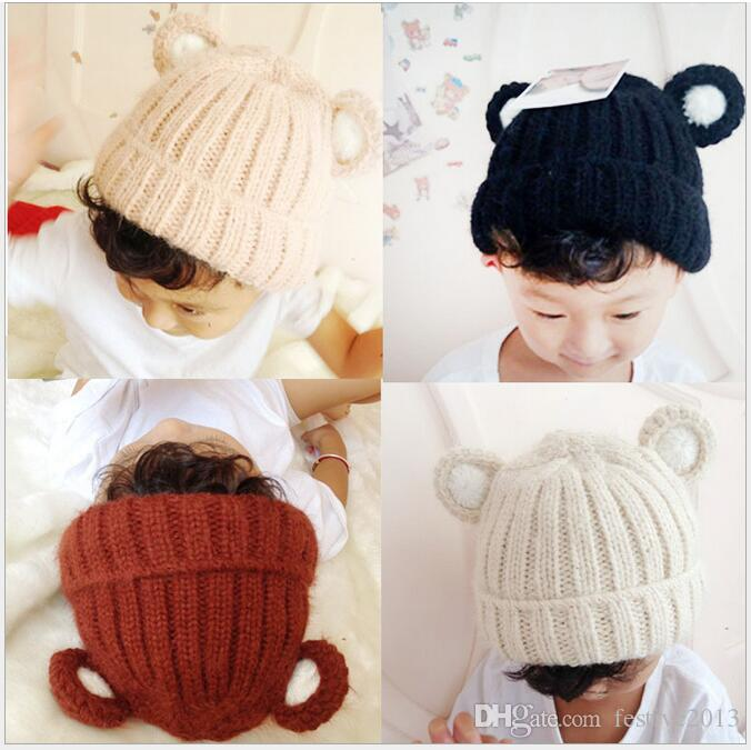 Children's hat baby hats for men and women knitting thickening sets bear ear cap cap to keep warm in winter earmuffs cap