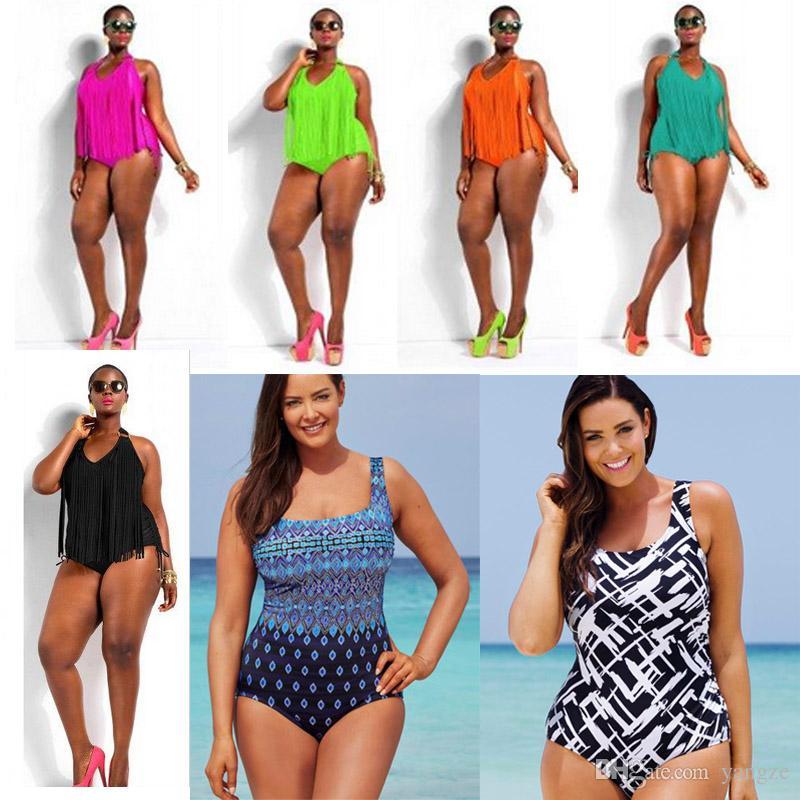 033d75031908 2019 Plus Size SwimwWomen Sexy One Piece Fringe Swimsuit With Hook Halter  Adjustable Hem Triangle Bikini Safe Padded Monokini SW300 From Yangze