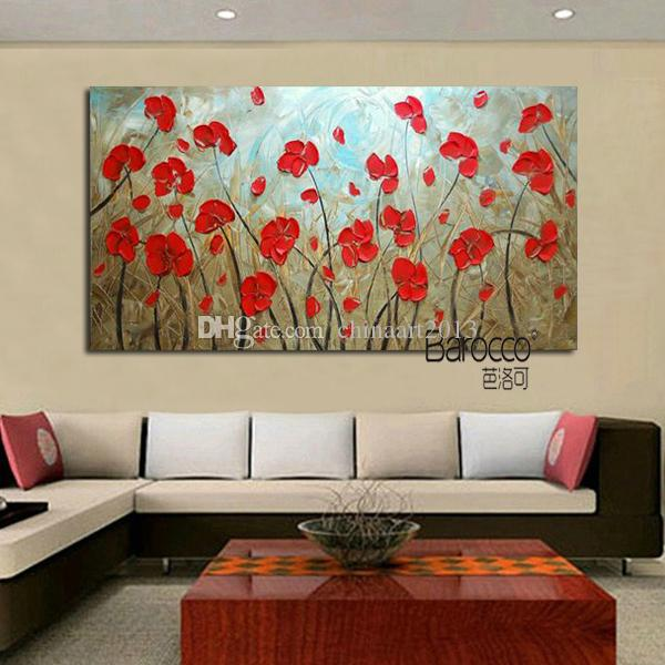 Modern Simple Red Flowers Canvas Painting Pure Hand Painted Oil Painting Home Wall Art Decoration Gift