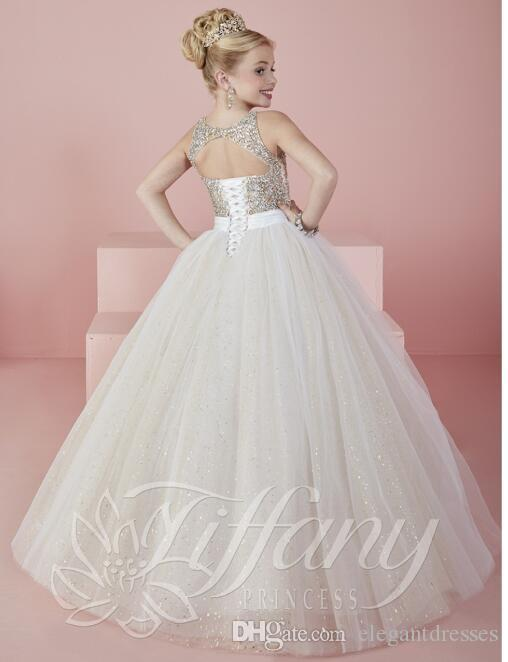 CheapLittle Girls Pageant Dresses wear 2021 New Jewel Neck Crystal Beads Formal Tulle Formal Party Dress for Teen Kids Flowers Girls Gowns