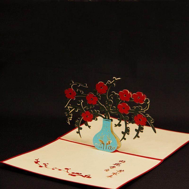 Kirigami 3d Pop Up Four Gentlemen Of The Flowers Greeting Card Three ...