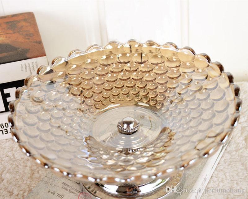 Estilo europeo Crystal Glass Fruit Plate y Snacks de la bandeja Candy Pot Craft Home Decoraciones de mesa Adorno Muebles ZA3243