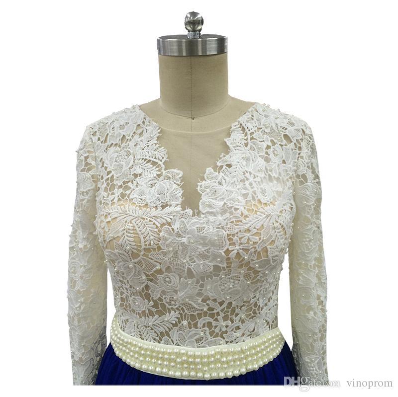 Vinoprom Vestidos Longos Para Formatura A-line Royal Blue Chiffon in rilievo in pizzo abiti da sera formale abiti da sera 2018