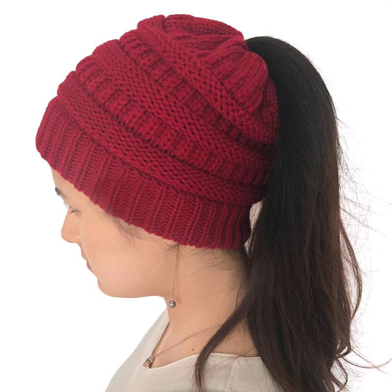 b1beafe28ff Wholesale- New Arraival 2017 Winter Warm Women Knitted Bonnet Hats ...