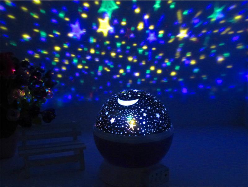 2016 Natal Projector rotação estrelado Estrela Night Light Lua Sky Noite Romântica Projector Luz Lam festa de aniversário do casamento Decoração quente