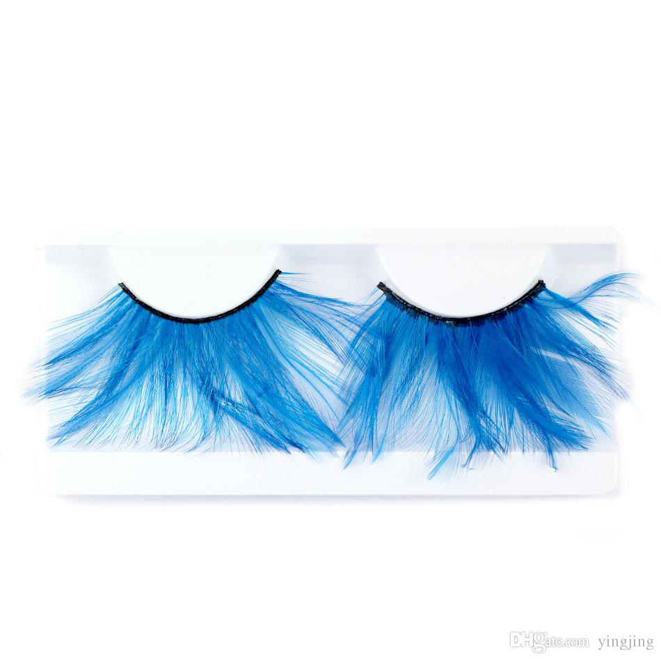 Exaggerated False Eyelashes of Colorful Blue Feathers Eyelash Party party Dedicated False Eyelash Makeup Beauty Tools