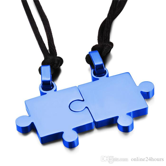 Mens Womens Couples Stainless Steel Puzzle Pendant Love Necklace Set, Black Silver Factory Wholesale 2017